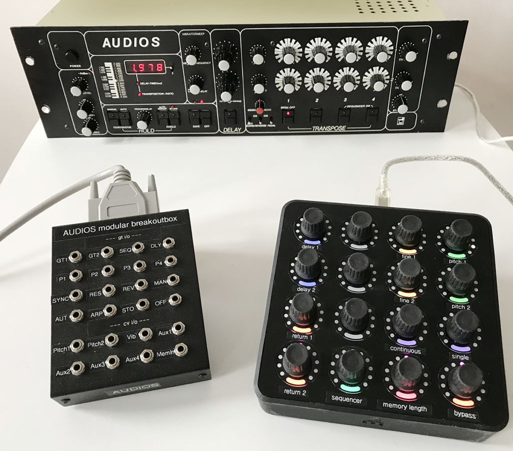 Klaus Fischer AUDIOS connected to modular breakout box and MIDI controller